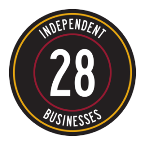 "Circular logo that reads ""28 Independent Businesses"""