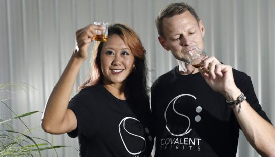 Covalent Spirits owners assessing spirits by sight